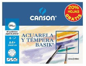 PACK 6 LAMINAS A4+ BASIK ACUARELA Y TEMPERA 370GRS CANSON