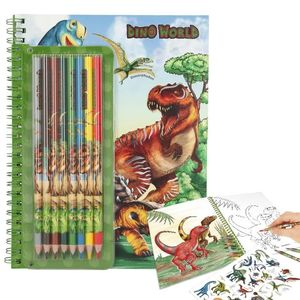 LIBRO DE COLOREAR CON LÁPICES DE COLORES DINO WORLD