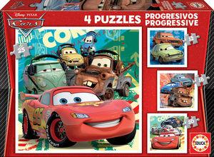 PUZZLES PROGRESIVOS CARS 2 12+16+20+25 PIEZAS EDUCA
