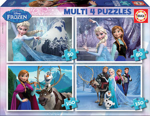 MULTI 4 PUZZLES FROZEN 50+80+100+150 EDUCA