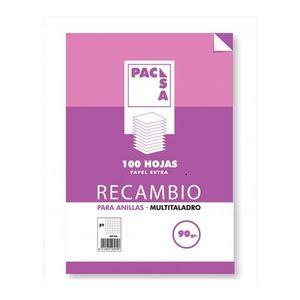 RECAMBIO A4 90GRS CUADRICULA 4X4. 4 TALADROS PACSA