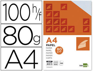 PAPEL A4 80G/M2 PAQUETE DE 100 SIN TALADROS CUADRO 4MM LIDERPAPEL