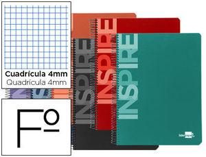 BLOC FOLIO ESPIRAL INSPIRE TAPA DURA 80H 60 GR CUADRO 4MM CON MARGEN COLORES SURTIDOS LIDERPAPEL