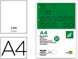 RECAMBIO A4 100 HOJAS 100G/M2 LISO SIN MARGEN 4 TALADROS LIDERPAPEL