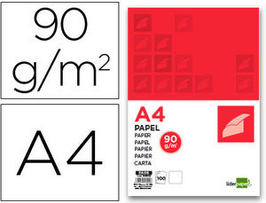PAPEL A4 100 HOJAS 90G/M2 BLANCO LIDERPAPEL