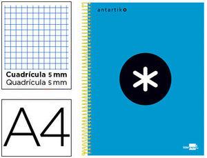 BLOC A4 ESPIRAL MICRO ANTARTIK TAPA FORRADA 120H 100GR CUADRO 5MM 5 BAND TALADROS COLOR AZUL LIDERPAPEL