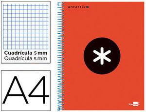 BLOC A4 ESPIRAL MICRO ANTARTIK TAPA FORRADA 120H 100GR CUADRO 5MM 5 BAND TALADROS COLOR ROJO LIDERPAPEL