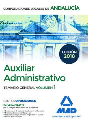 AUXILIAR ADMINISTRATIVO DE CORPORACIONES LOCALES DE ANDALUCIA TEMARIO GENERAL VOLUMEN 1